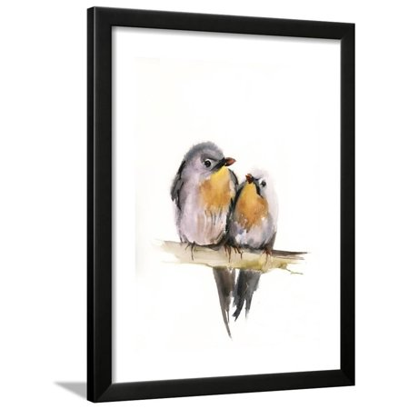 Anime Couples Black And White (Bird Couple Framed Print Wall Art By Sophia)