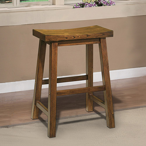 Saddle Seat Counter Stool Honey Brown Walmart Com