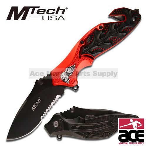 Skull  Heavy MTech Rescue Folder Pocket Knife - Red & Black