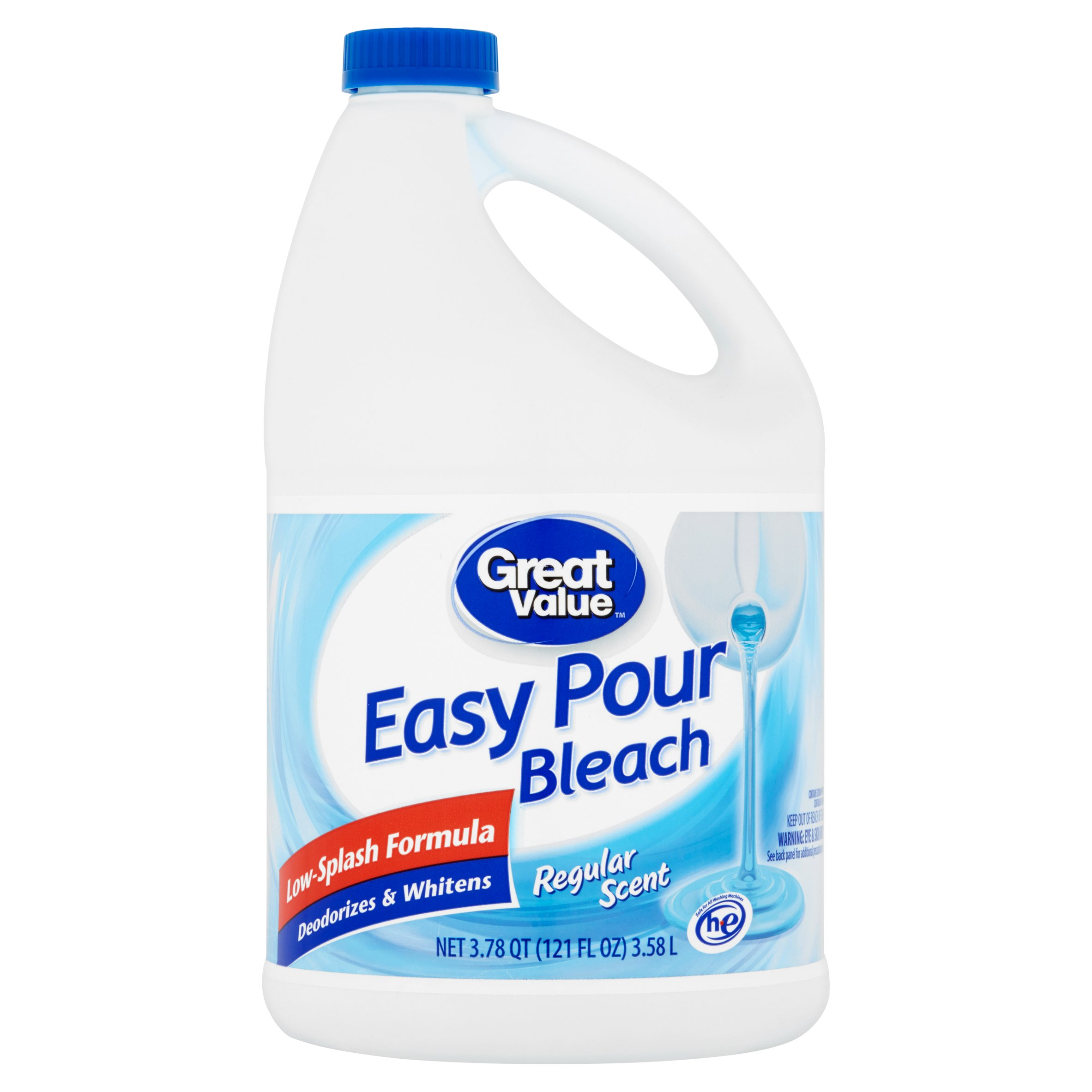 Great Value Easy Pour Bleach, Regular Scent, 121 fl oz