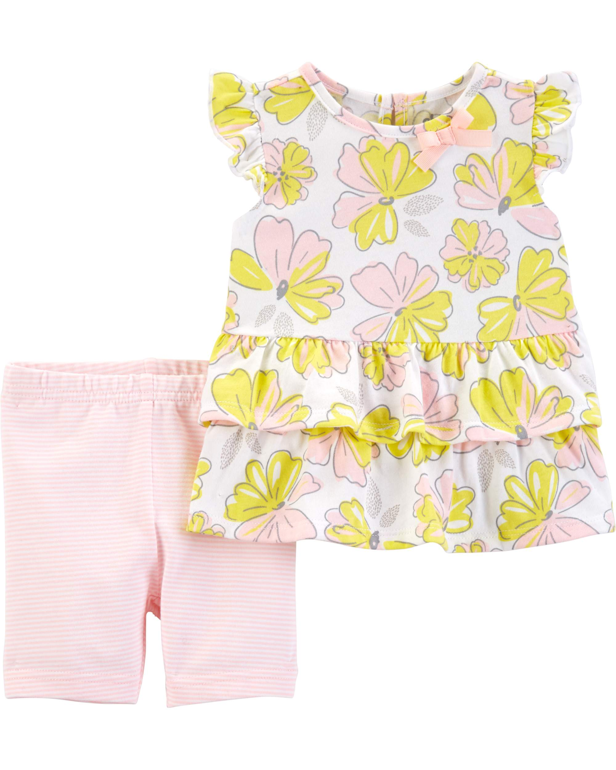 Ruffle Sleeve Top and Shorts, 2pc Outfit Set (Toddler Girls)