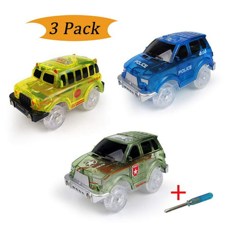Electric Tracks Cars 3 pack, LED Flashing Car Toys Looping Race Run Set, Flexible Glow in the Dark with 5 LED Lights, Compatible with Magic Track, for Boys and Girls (Funny Race Car)