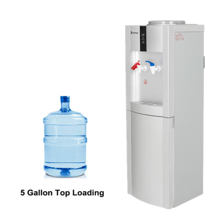 Water Dispenser, Top Loading Freestanding Water Cooler Dispenser with Storage Cabinet, 5 Gallon, Child Safety Lock, Two Temperature Setting