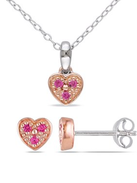 1/6 Carat T.G.W. Created Pink Sapphire Two-Tone Sterling Silver Children's Heart Earrings & Pendant Set