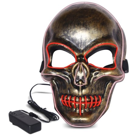 Halloween LED Mask Purge Masks with Lighten EL Wires Scary Light Up Cosplay Costume Mask Battery-operated Glowing Creepy Skull Mask Copper