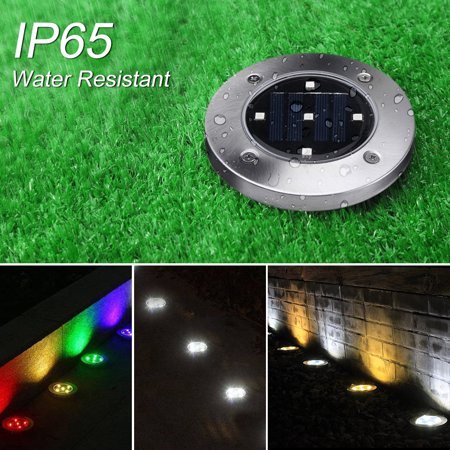 1PC LED Ground Lights Waterproof Lawn Lamp 5LEDs Solar Light Pathway In-Ground Lights Outdoor Water-resistant Landscape Spike Lighting Underground Spotlight for Pathway White - image 3 de 7