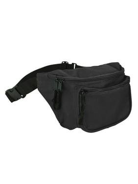 DALIX Fanny Pack w/ 3 Pockets Traveling Belt Pouch Waist Wallet Concealer Black
