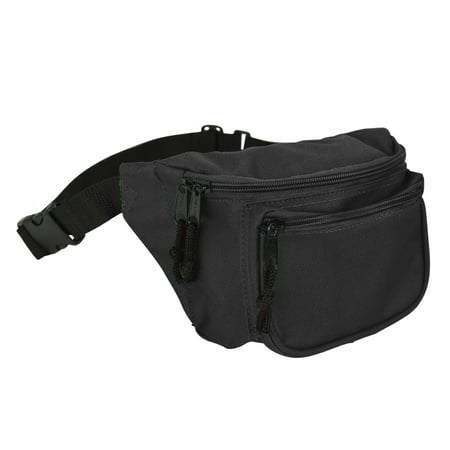 DALIX Fanny Pack w/ 3 Pockets Traveling Belt Pouch Waist Wallet Concealer Black