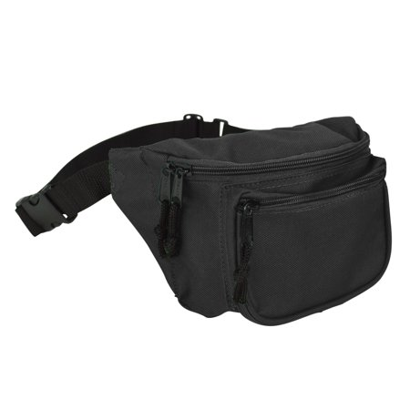 DALIX Fanny Pack w/ 3 Pockets Traveling Belt Pouch Waist Wallet Concealer Black Black Oak Fanny Pack
