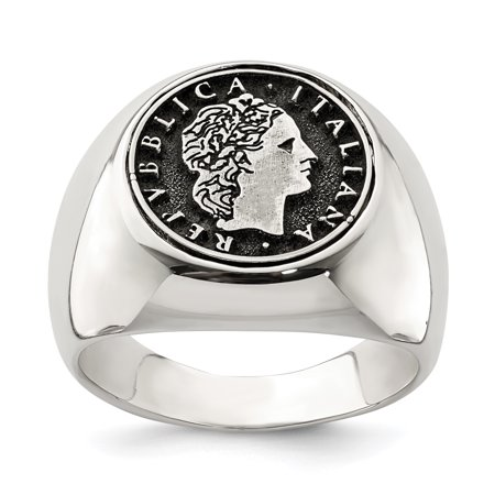Lire Vatican Coin (Sterling Silver Polished with Antiqued Replica 50 Lire Italian Coin Ring Multiple Sizes )