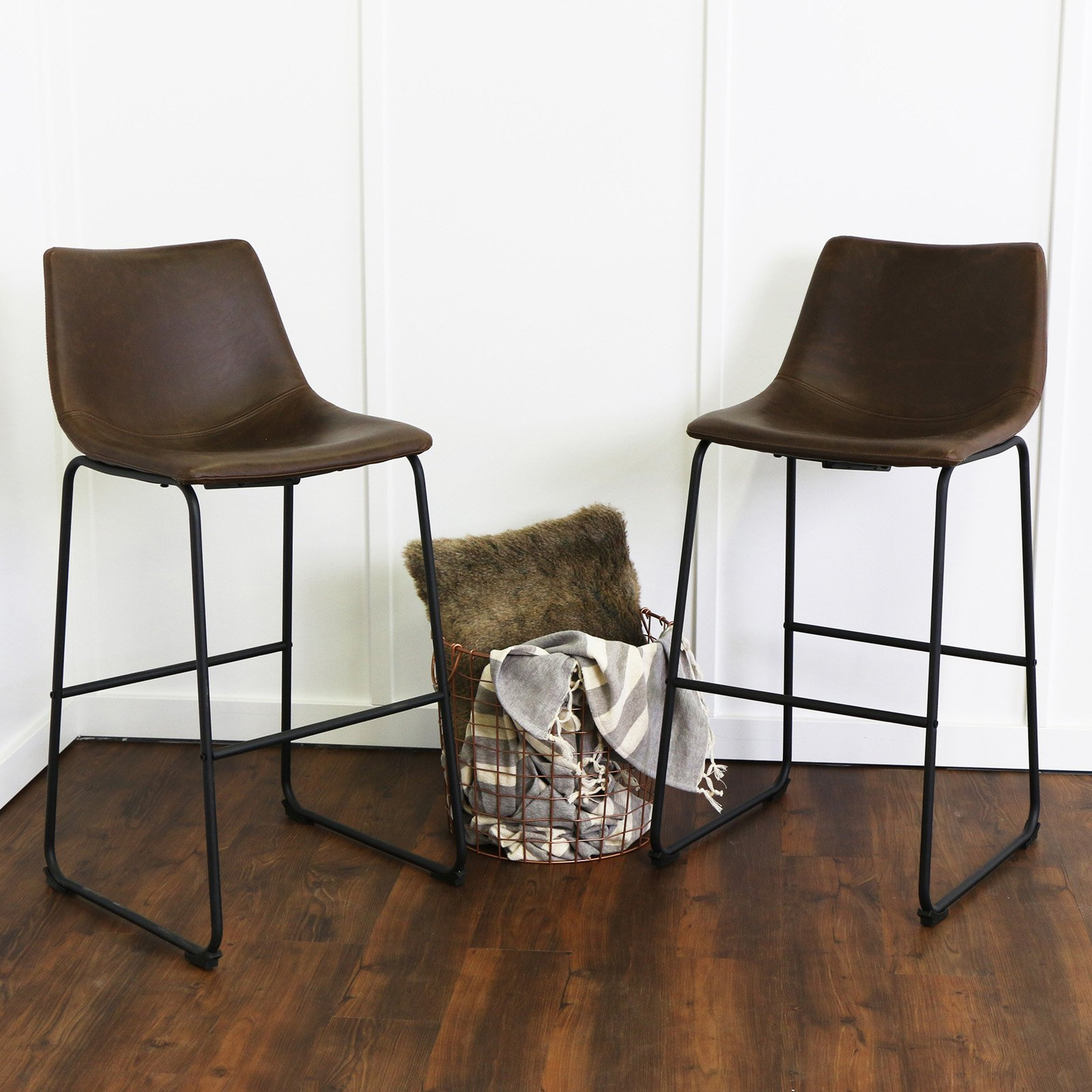 Walker Edison Modern Kitchen Bar Stools, Set of 2 - Brown