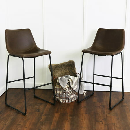 Walker Edison Modern Faux Leather Bar Stool, Set of 2 - Brown