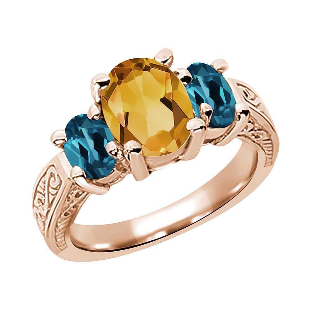 2.25 Ct Citrine and London Blue Topaz 925 Rose Gold Plated Silver 3-Stone Ring