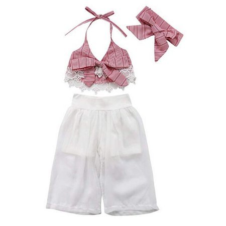 Baby Girl Lace Stripe Bowknot Halter Crop Top Wide Leg Pant with Headband