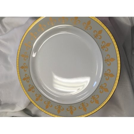 Royalty Porcelain Fleur-de-Lis Footed Cake Stand 24K Gold-Plated Bone China Tableware