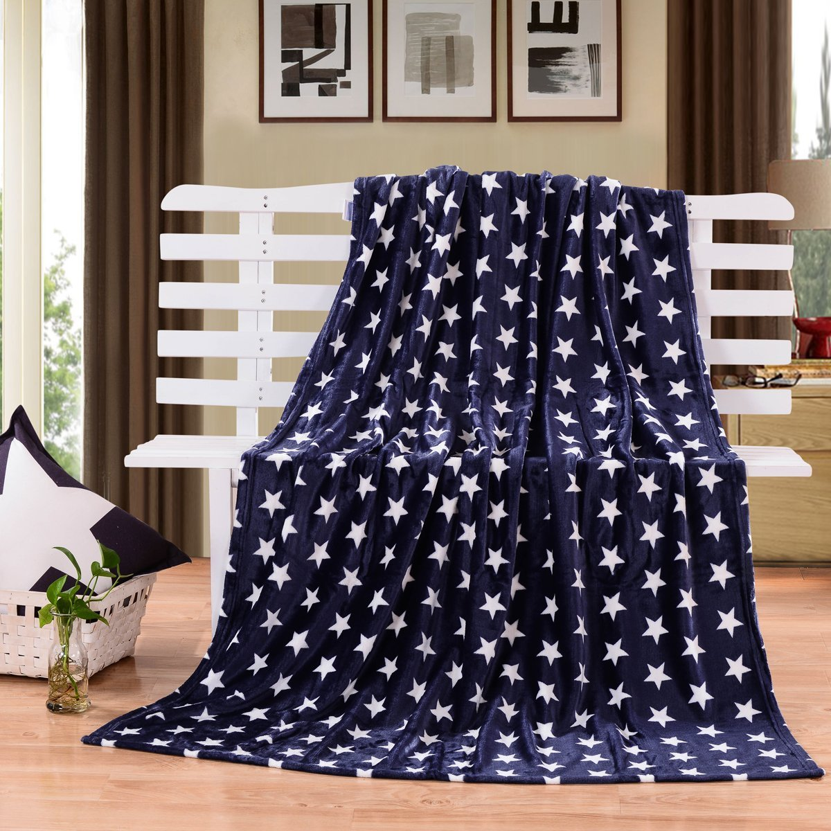 HYSEAS Velvet Plush Throw, Home Fleece Throw Blanket, 50 by 60-Inch, Blue Star
