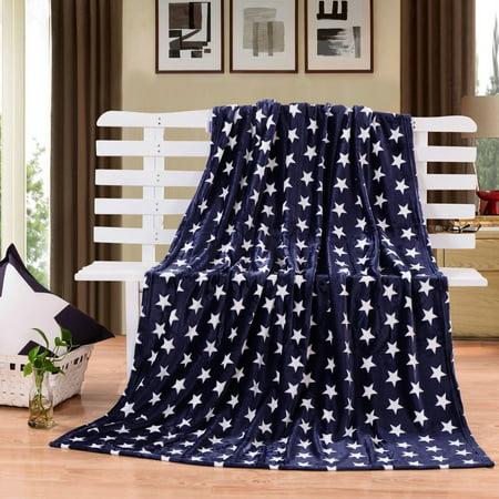 (HYSEAS Velvet Plush Throw, Home Fleece Throw Blanket, 50 by 60-Inch, Blue Star)