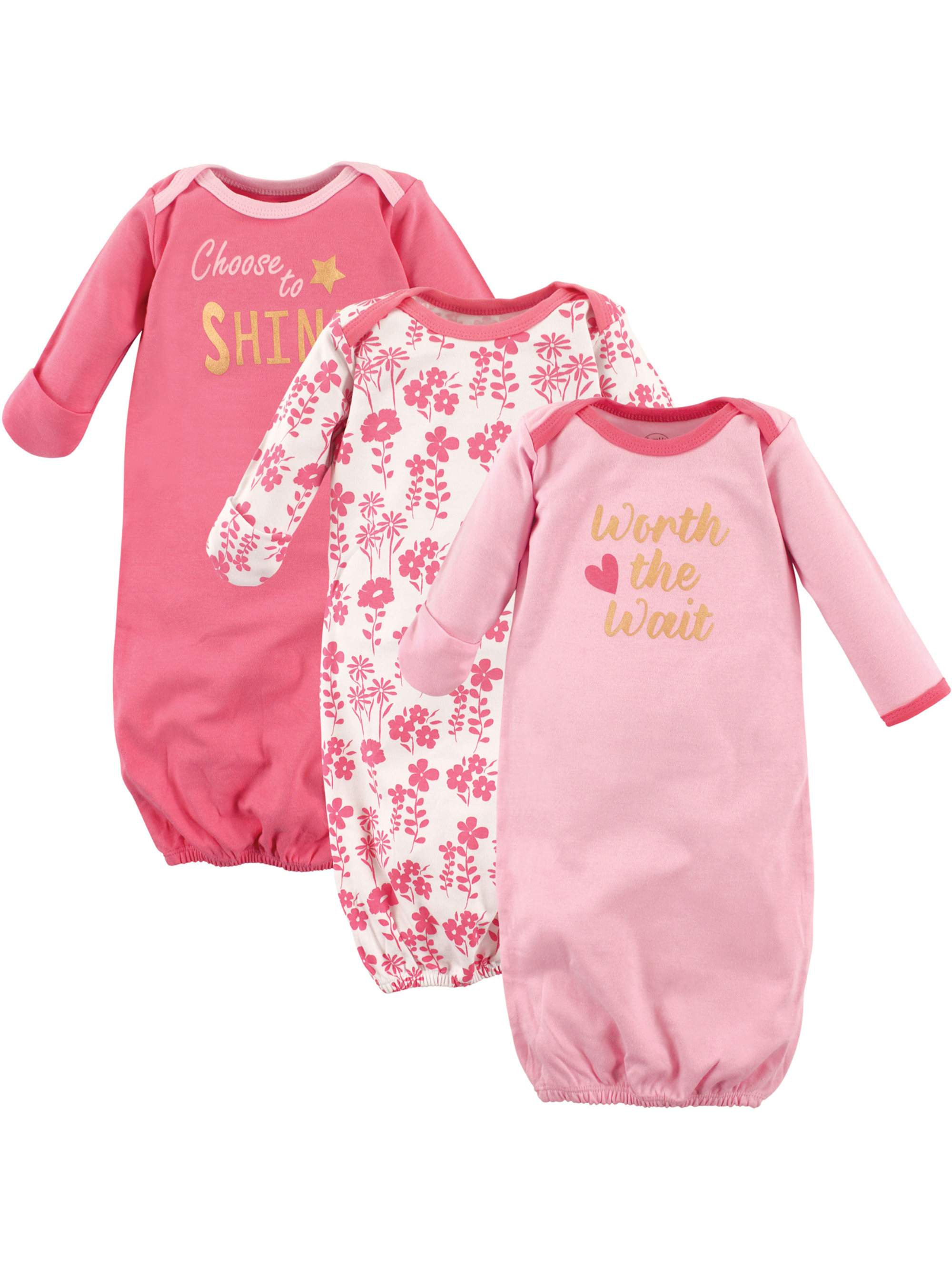 Baby Girl Gowns, 3-pack
