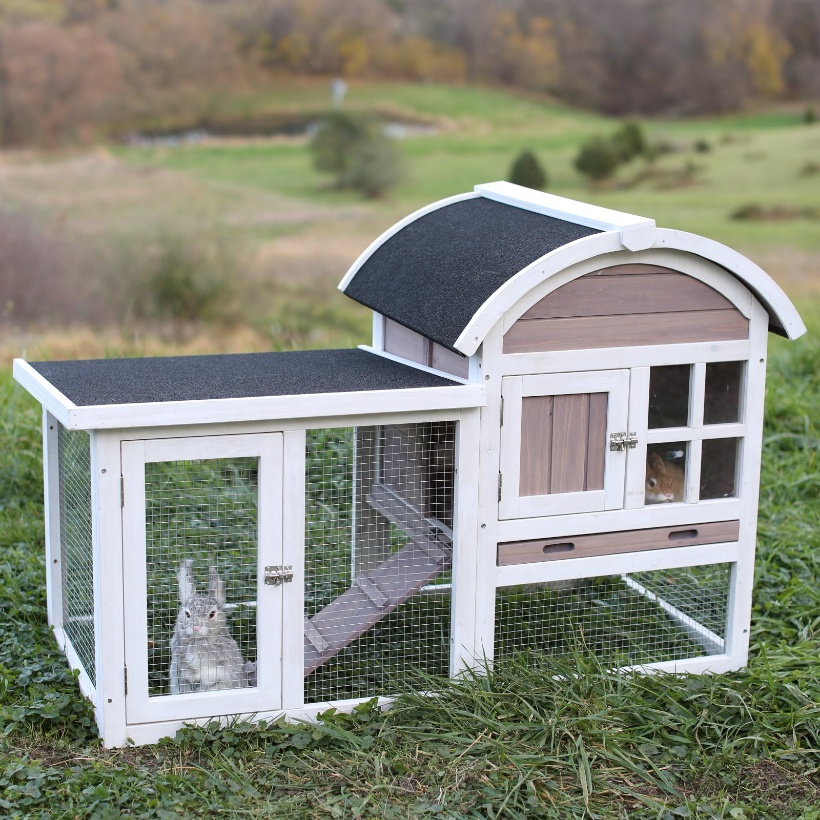 Boomer & George Rabbit Hutch with Rounded Roof and Run