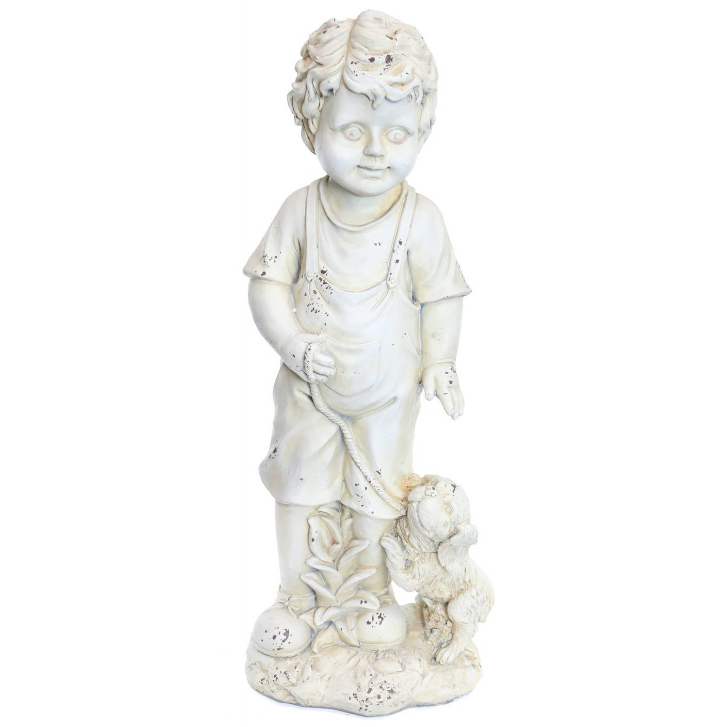 Boy wIth Puppy Cream Garden Statue by Alpine Corp