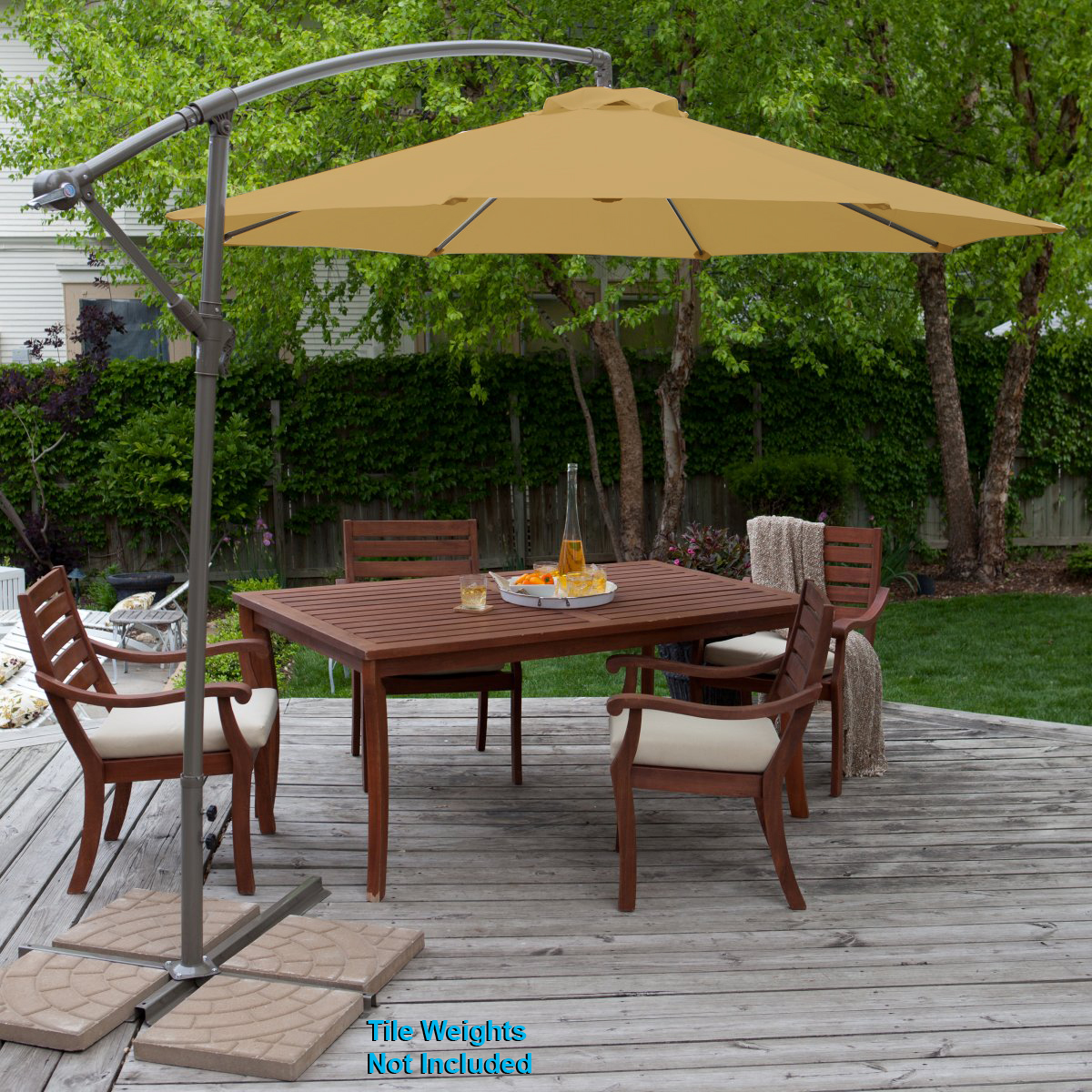 Clevr 10ft Offset Umbrella Outdoor Deck Patio Tilt Cantilever Hanging Canopy Tan