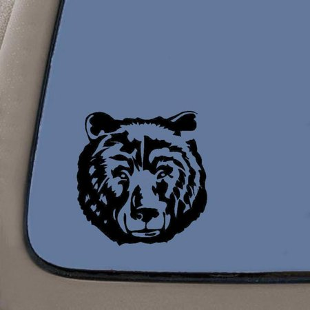 - Grizzly Bear Face Decal | 5.5-Inches | Black Vinyl Decal | Car Truck Van SUV Laptop Macbook Wall Decals