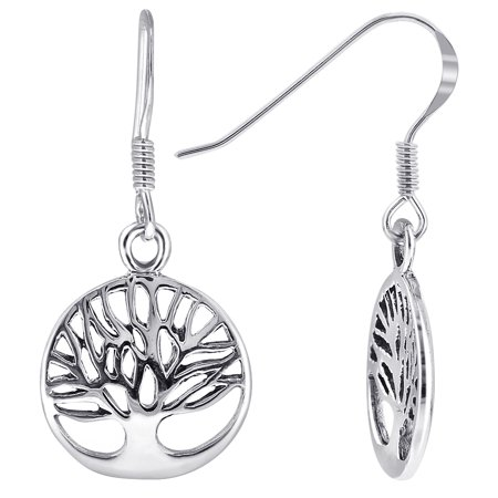 Gem Avenue 925 Sterling Silver Tree Of Life Design French Wire Drop Earrings Gem Horseshoe Silver Earrings