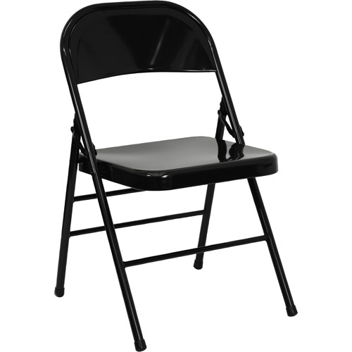 hercules hinged metal folding chair, set of 4, black - walmart