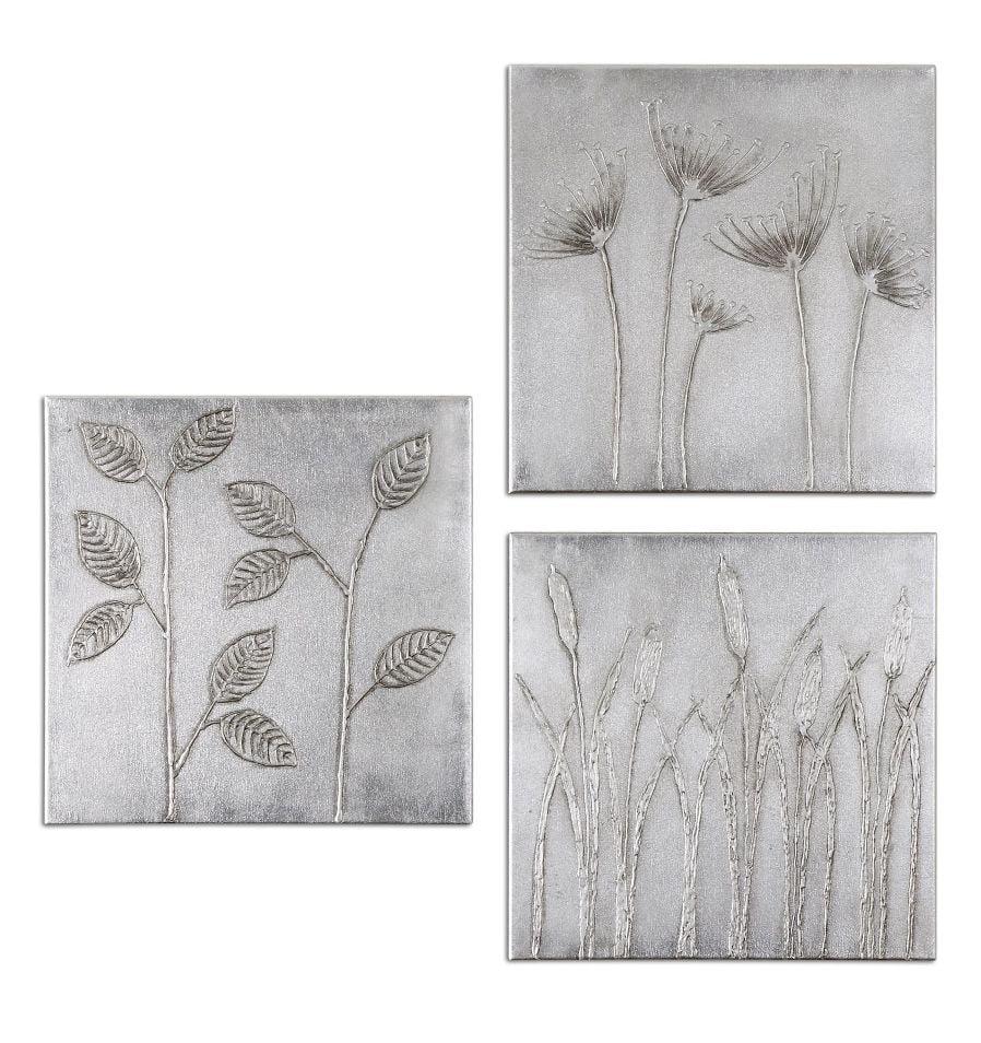 Uttermost Set of 3 Sterling Trio Canvas Art  34204