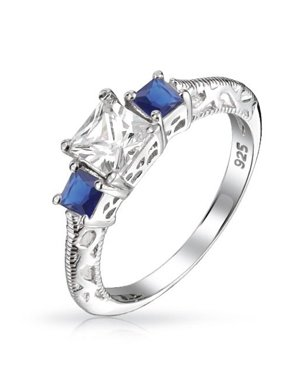 905dea300 Product Image 1 CTW 3 Stone Engagement Ring Past Present Future with  Filigree Princess Cut Simulated Sapphire Blue