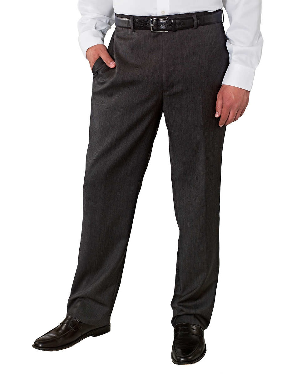 Kirkland Signature Mens Wool Flat Front Dress Pant-Open Bottom Hem (Charcoal, 42X32)