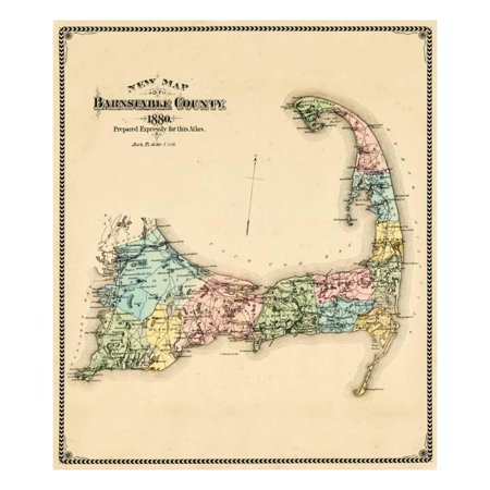 1880, Barnstable County and Cape Cod, Massachusetts, United States Print Wall Art