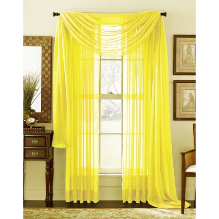 3 Piece Bright Yellow Sheer Voile Curtain Panel Set 2 Panels And 1 Scarf