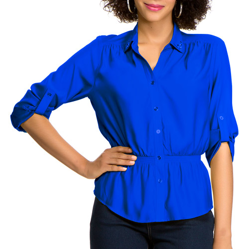 Miss Tina Women's Embellished Campshirt
