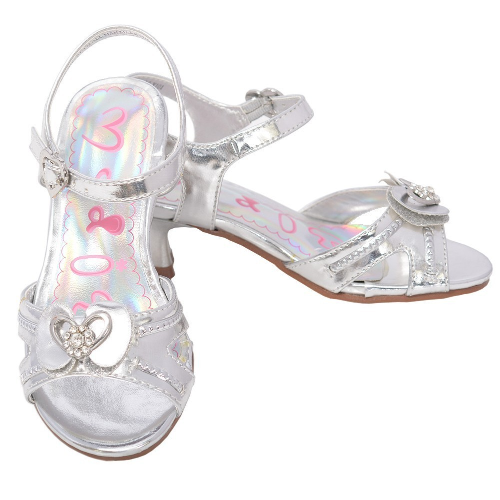 Toddler Girls 5 Silver Sparkle Bow Kitten Heel Dress Shoes