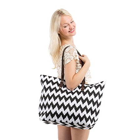"X-Large Chevron Print Canvas Beach Bag Tote - 22""x15""x6"" (Black Chevron)"