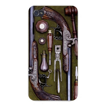 Apple Iphone Custom Case 4 4s White Plastic Snap on - Closeup Weapons Pistol Guns on Table Old