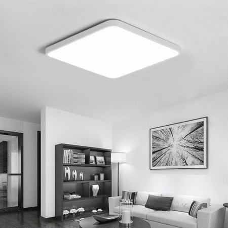 20W Square LED Ceiling Light Fixture With Remote Control Dimmable Color Lights Black White