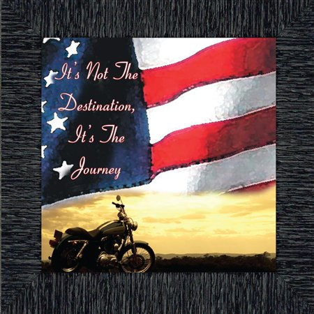 It's Not the Destination Flag and Sky Picture Frame, Classical Bike, 10x10 - Flag Frames