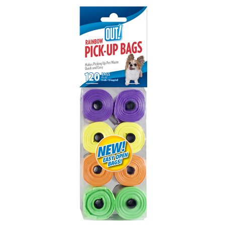 Out  Dog Waste Pickup Bags  8 Rolls 120 Bags  Rainbow Colors