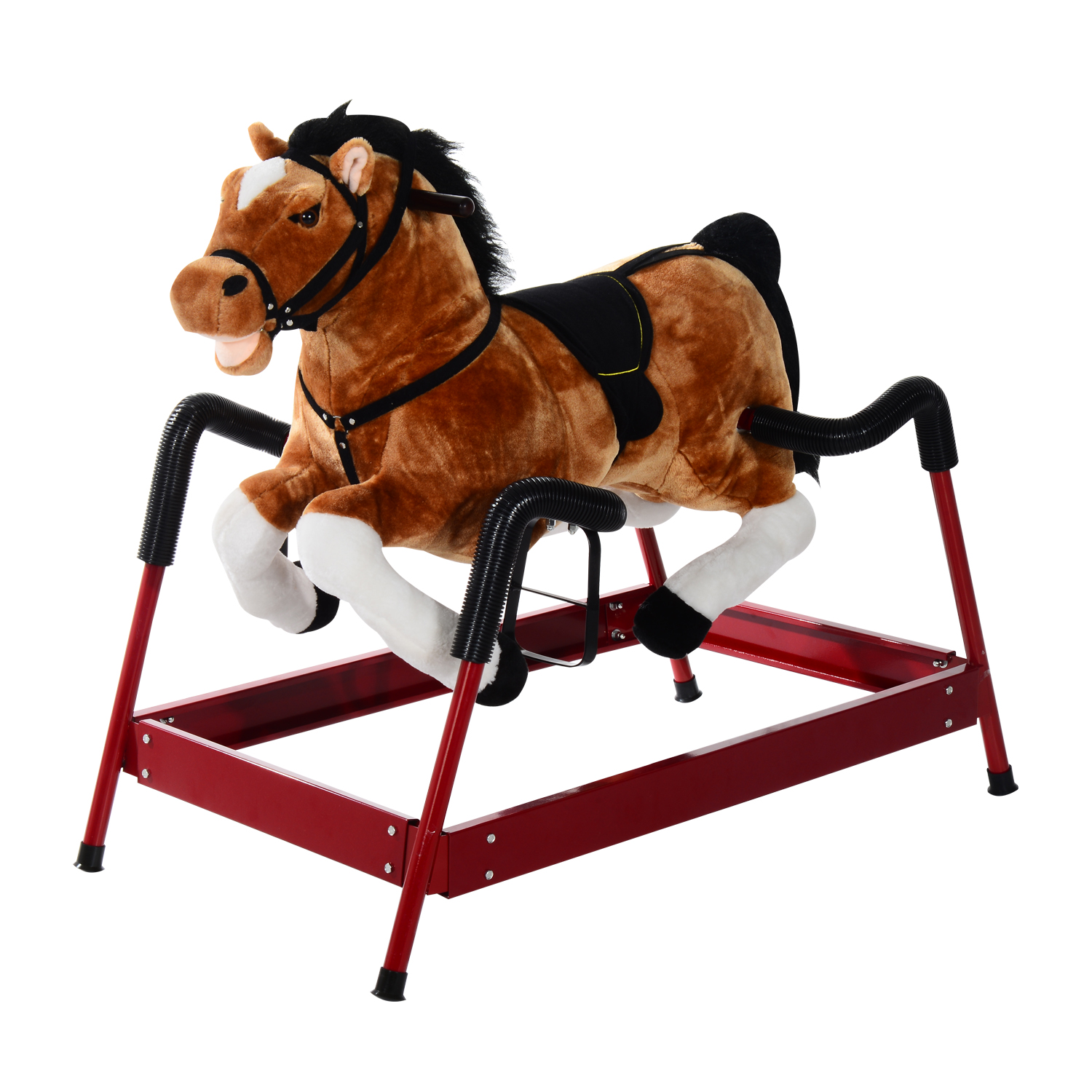 Qaba Kids Plush Spring Rocking Horse w/ Realistic Sounds