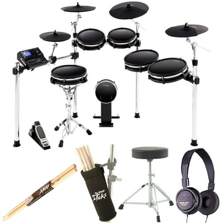 - Alesis DM10 MKII Pro Kit | Ten-Piece Electronic Drum Kit with Mesh Heads + Dynamic Stereo Headphones + Drum Stick Holder + Drum Throne + Maple Wood 5B Drumsticks (1 Pair) - Top Value Bundle