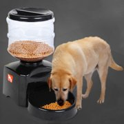 NEW 5.5L Automatic Pet Feeder with Voice Message Recording and LCD Screen Large Smart Dogs Cats Food Bowl Dispenser Black(Black)