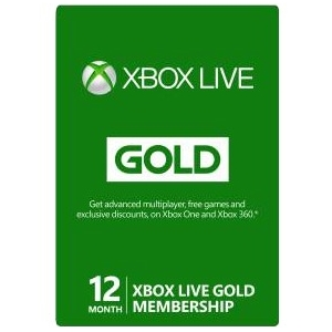 Xbox Live 12-Month Gold Card - $59.99