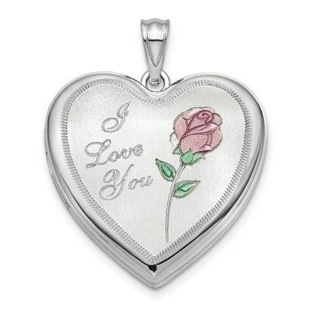 Sterling Silver Rhodium Plated 24Mm Enameled Rose Ash Holder Heart Locket