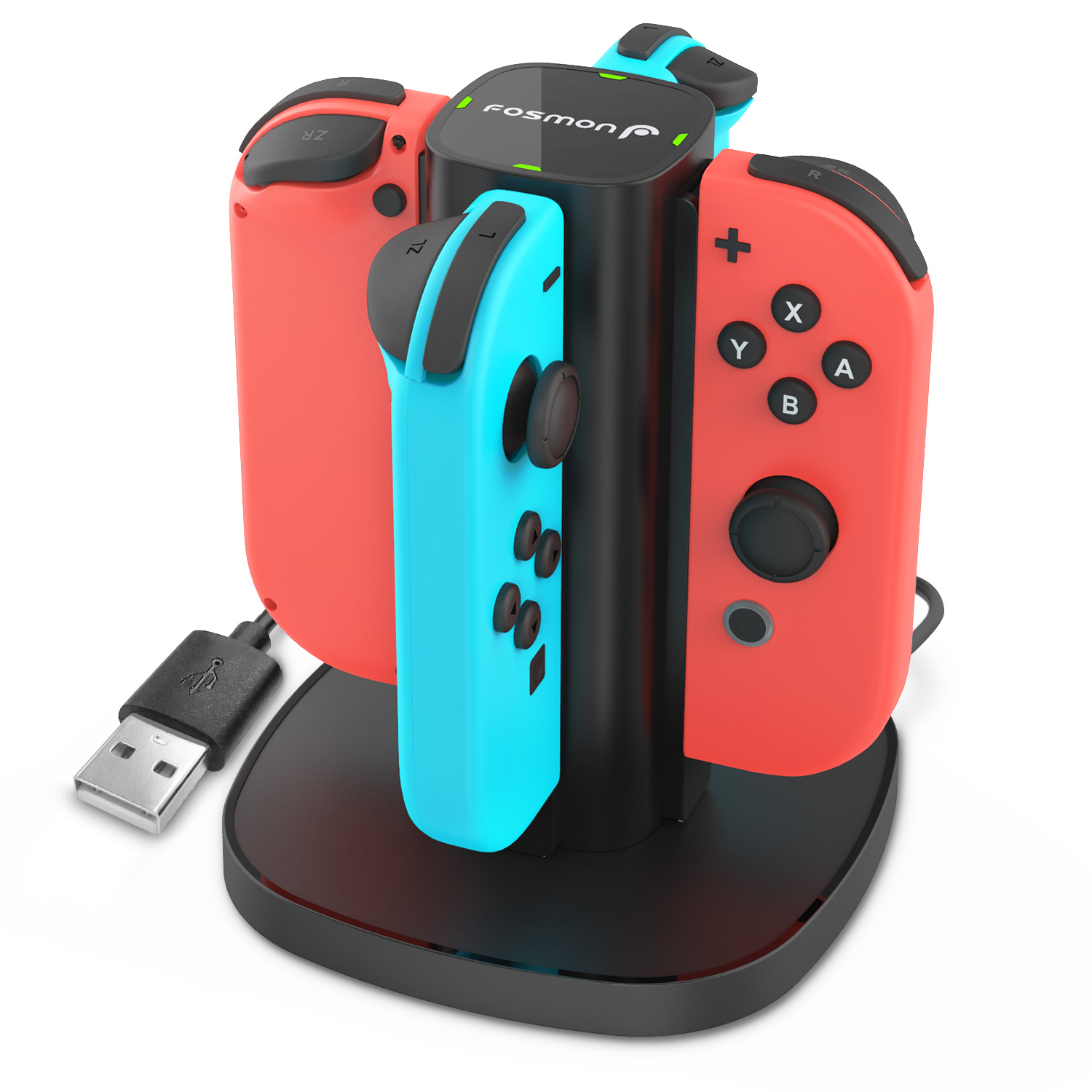 Charging Dock Switch, Fosmon 4-in-1 Joy-Con Charging Station Stand with LED Indicators for Nintendo Switch - Black