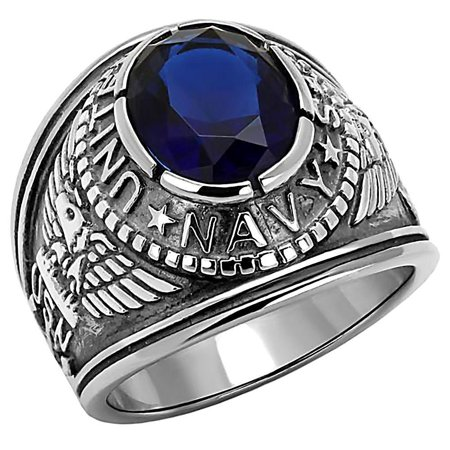 Trustmark Mens 5.0ct Simulated Sapphire USA Navy Stainless Steel Military Signet Ring, Navy sz 8.0