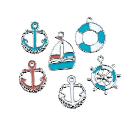 Fun Express - Beach Nautical Charms for Summer - Craft Supplies - Adult Beading - Charms - Summer - 12 Pieces