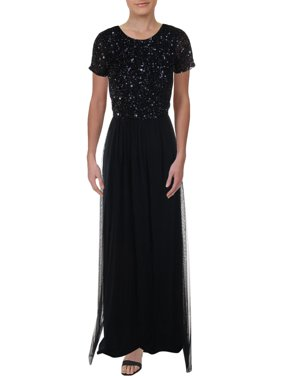 Adrianna Papell Womens Sequined Sleeve Evening Dress