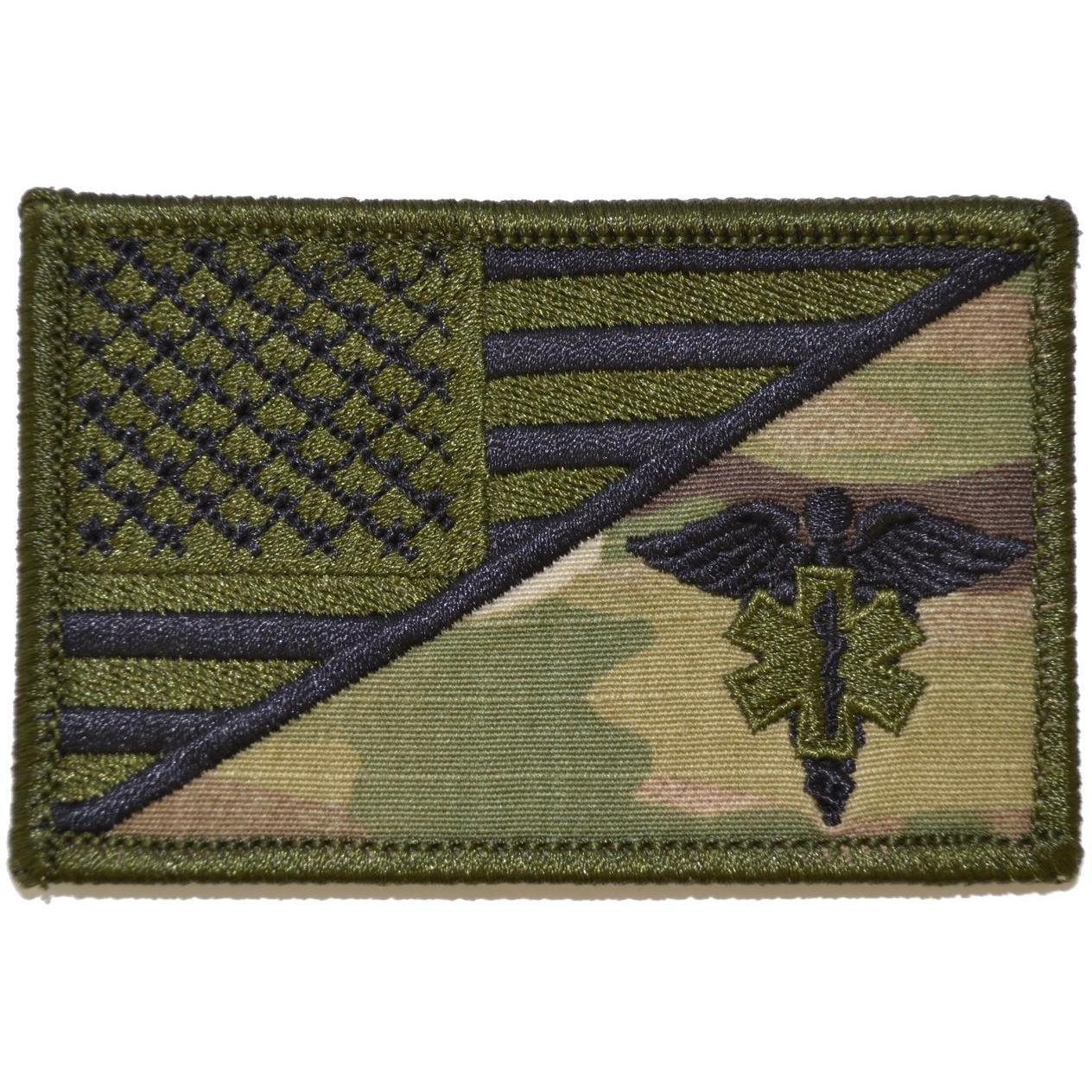 EMT Caduceus Star of Life USA Flag - 2.25x3.5 Patch